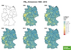 Gridded PM 2.5 emissions from 1990 until 2015